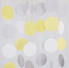 UMISS PAPER Yellow, Gray, White Circle Garland, Hanging Decoration, Nursery Decor for Birthday Baby Shower Background Decorative