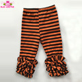 Best Selling Girls Ruffle Leggings Kids Tight Pants Orange And Black Stripe Cotton Baby Halloween Icing Pants