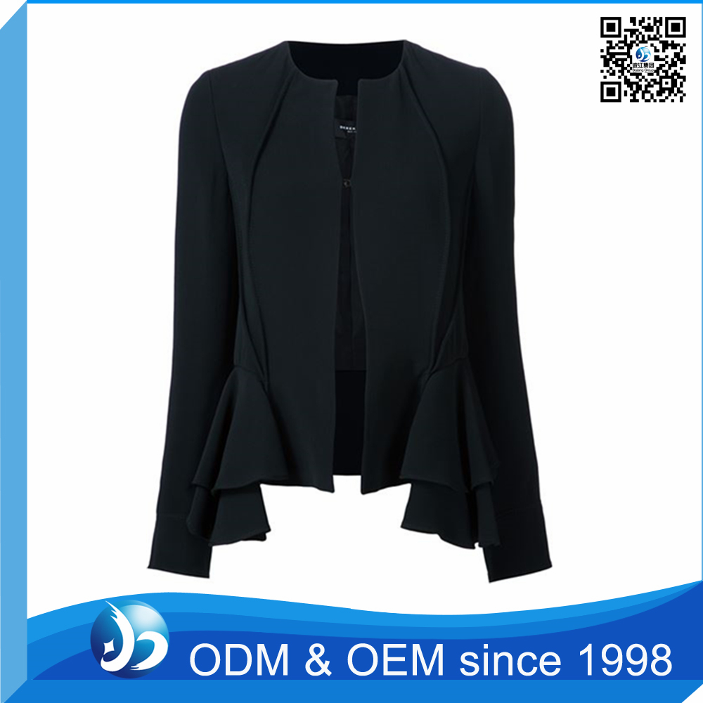 Custom Cotton Single-Breasted Straight Type Jacket for Women