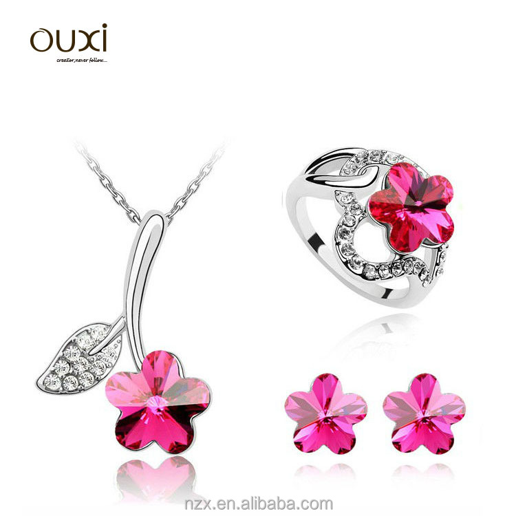 2016 OUXI flower shaped african beads jewelry set S-3007