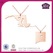 new design fashion necklace 2015 stainless steel pendant necklace female necklace with USA state design