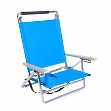 Deluxe 5 Positions Lay Flat Aluminum Beach Chair with Cup Holder Foldable Beach Chair