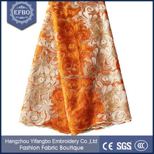 lace ladies evening dress African nice tulle lace orange and cream embroidered dubai fabric lace