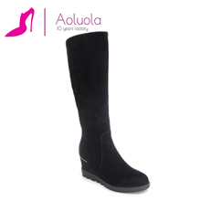 New supplied round toe wedge platform winter boots women leather shoes