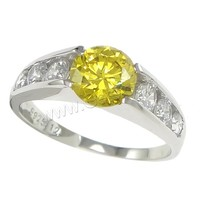 Yellow cubic zirconia value 925 silver ring