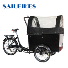 huaibei special pedal assist electric three wheel cargo bike with rain cover