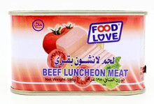 Healthy beef meat in canned beef luncheon meat
