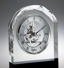 Colonnade Black Glass Clock with skeleton clock movement