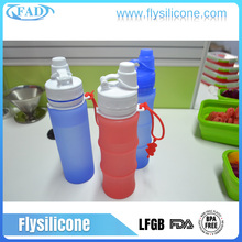 Eco Friendly Material BPA Free Heat Resistant Silicone Compressed Hiking Student Water Bottle