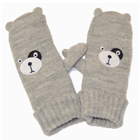 Animal Dog Face Embroidery Mitten With