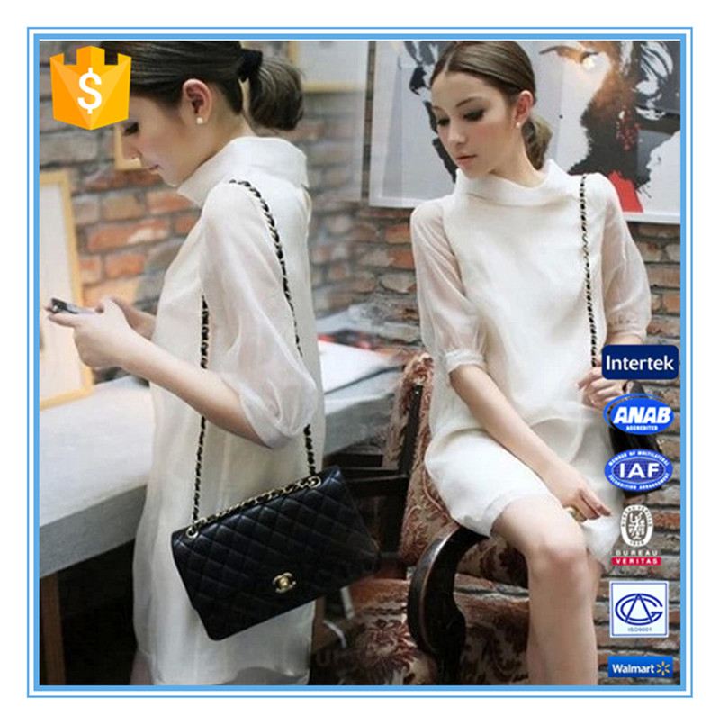 New Fashion Ladies Elegant Half Collar Organza White Dress Korean Style