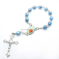 glaze section rosary,religious rosary decate ,section beaded glass rosary
