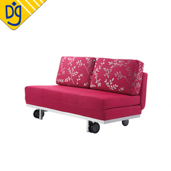 Red fabric foam multipurpose sofa hide folding bed