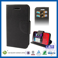 C&T Customized black wallet leather case for blackberry q5