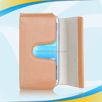 With Card Holder Pocuh Side Flip Leather fashion steel brushed metal aluminum case cover for iphone 4g 4s 4gs