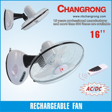 16'' rechargeable wall mounted fan with LED light and remote control