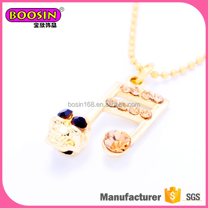 Fashion cool skull notes gold plated pendant necklace