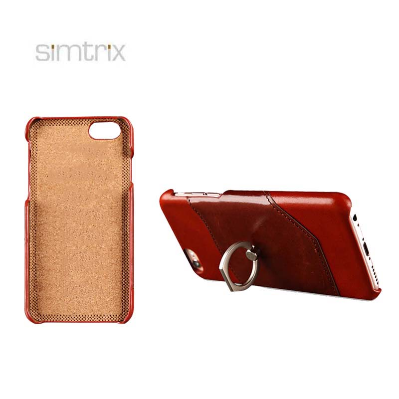 Genuine leather customized mobile phone back cover case with finger ring holder for Iphone 7