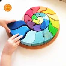 Baby Kids Educational Toys Rainbow Building Blocks stacking stack Wooden snail Rainbow for kids Learning Recognition Puzzle Toy