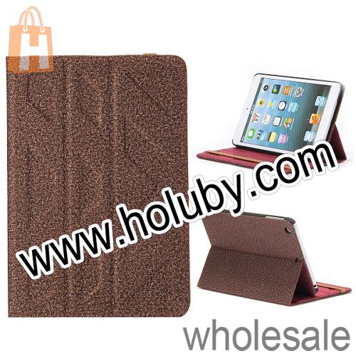 Embossment Design Carpet Fabric Textile Folio Double-faced Folding Side Flip Stand Leather Case for iPad Mini 2 Retina