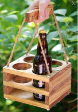 Rustic wooden beer bottle crates with handle for sale