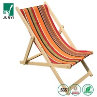 Outdoor camping chairs adjustable folding waterproof canvas wooden beach deck chair