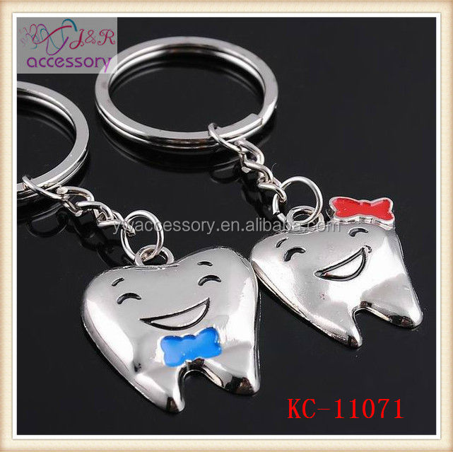 Cute tooth shaped key chain, teeth shaped with bow knot key chain for lovers