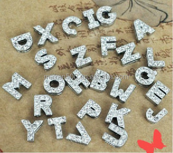 charm bracelet 8mm/10mm/18mm alphabet letters for slide bracelets