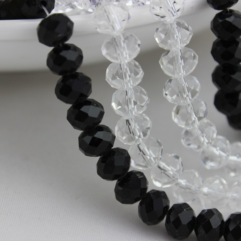 High quality glass faceted crystal white / black rondelle beads 8mm yiwu factory wholesale price
