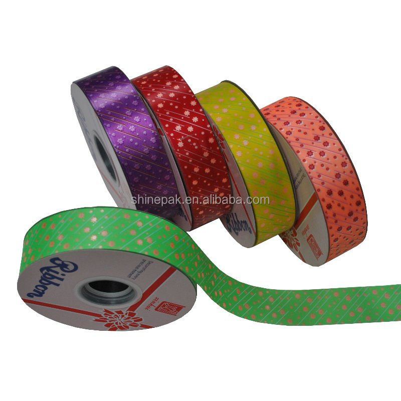 Printed polypropylene ribbon for gift wrapping