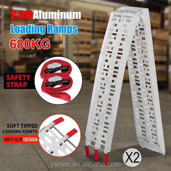 2x 7.5' Fold Aluminum ATV Loading Ramp Lawnmower Motorcycle Truck Silver