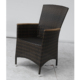 modern UV-Resistant wooden armrest wicker outdoor dining chair