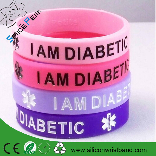 I am Diabetic Silicone Wristband/ debossed rubber bracelet / custom umbulance rubber wristband