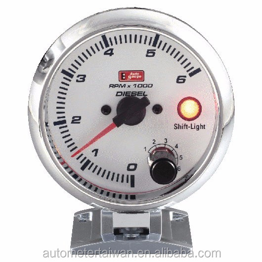 "3 3/4"" tachometer for deisel with white face &chrome rim / 0~6,000 rpm"