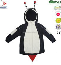 kids Sports wear snow ski jacket with reflective piping in beetle style