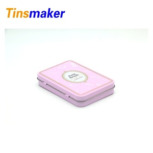 Pink colored rectangular cosmetic packaging tin box