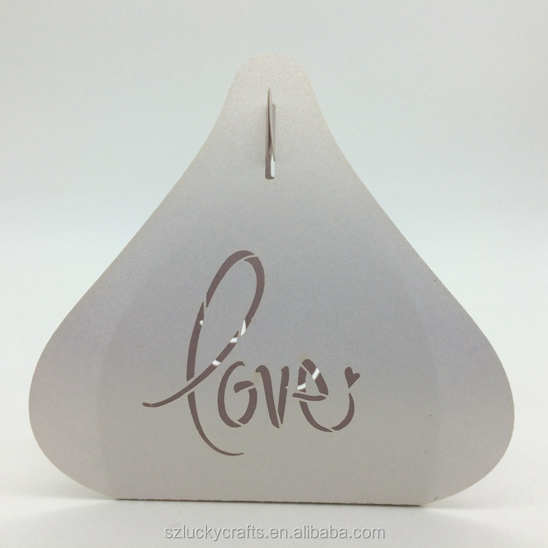 "2016 New fashion White""love"" Heart Irregular Shape Laser Cut paper wedding candy box chocolate favour box for valentines"