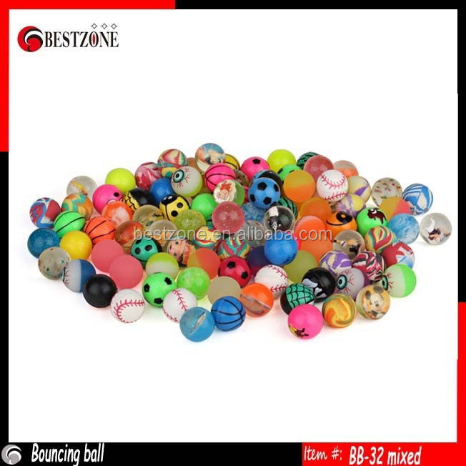 32mm mixed colorful bouncy ball rubber jump ball bouncing ball
