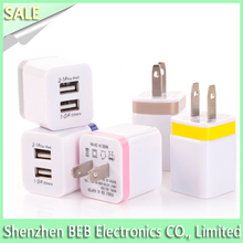 Dual Ports 2 USB Power Adapter US 2 Pins Wall Plug Mains Charger for iPhone iPad(Assorted Color)