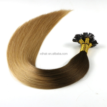 Two tone cheap ombre color 100% virgin brazilian hair falt taip hair extension darling hair waving