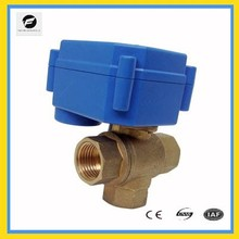"1/4"" electric 3 way ball valve brass valve with actuator for chilled water"