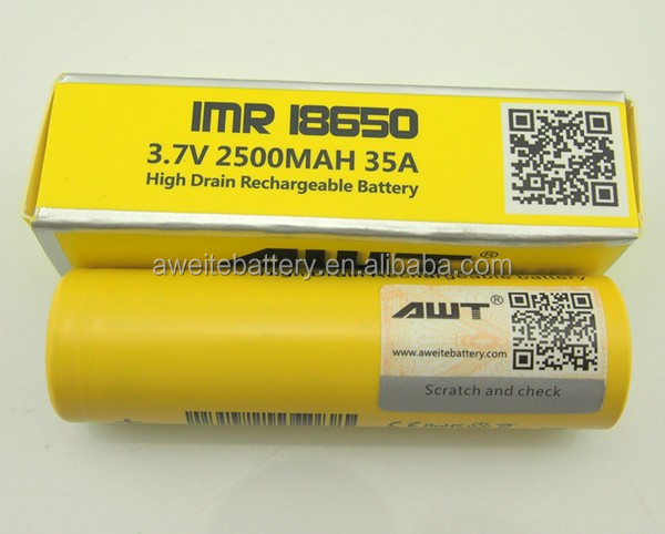 AWT battery 18650 3.7v battery 2500mah awt 18650 battery for rogue mech mod clone lost vape therion dna75