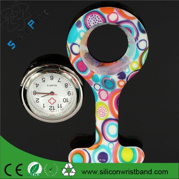 New arrival ! 100% high quality full color printing waterproof clip watch nurse pin FOB watch