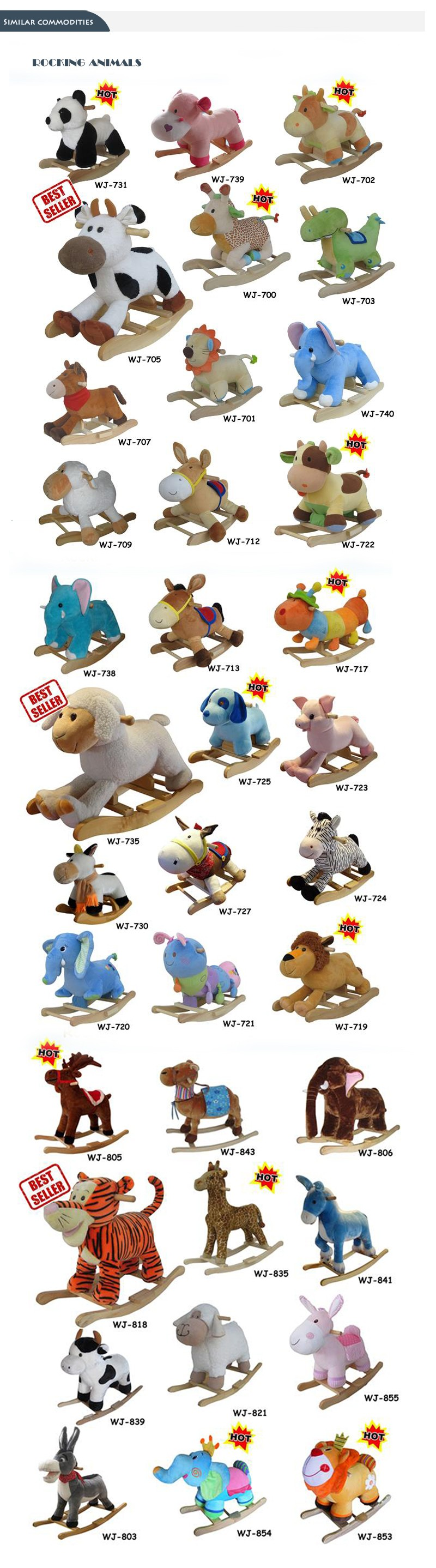 60*35*50cm Adorable SGS audited new design plush rocking animal chairs stuffed with PP cotton
