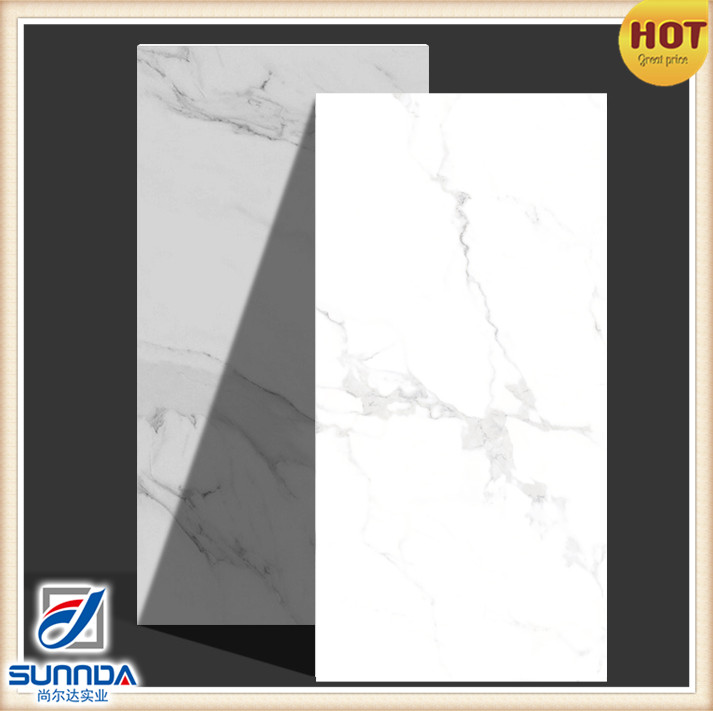 600x1200mm big size full body marble look carrara design polished porcelain tiles made in China for high end projects