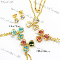 316L stainless steel wholesale Golden necklace chain with Heart Crystal