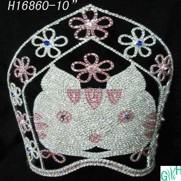 Beautiful cat crown big pageant crown,tall animal tiaras for sale