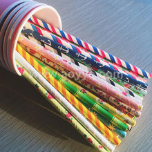 Wholesale colorful children birthday disposable pure color hot stamping pentagram stripe paper drinking straw