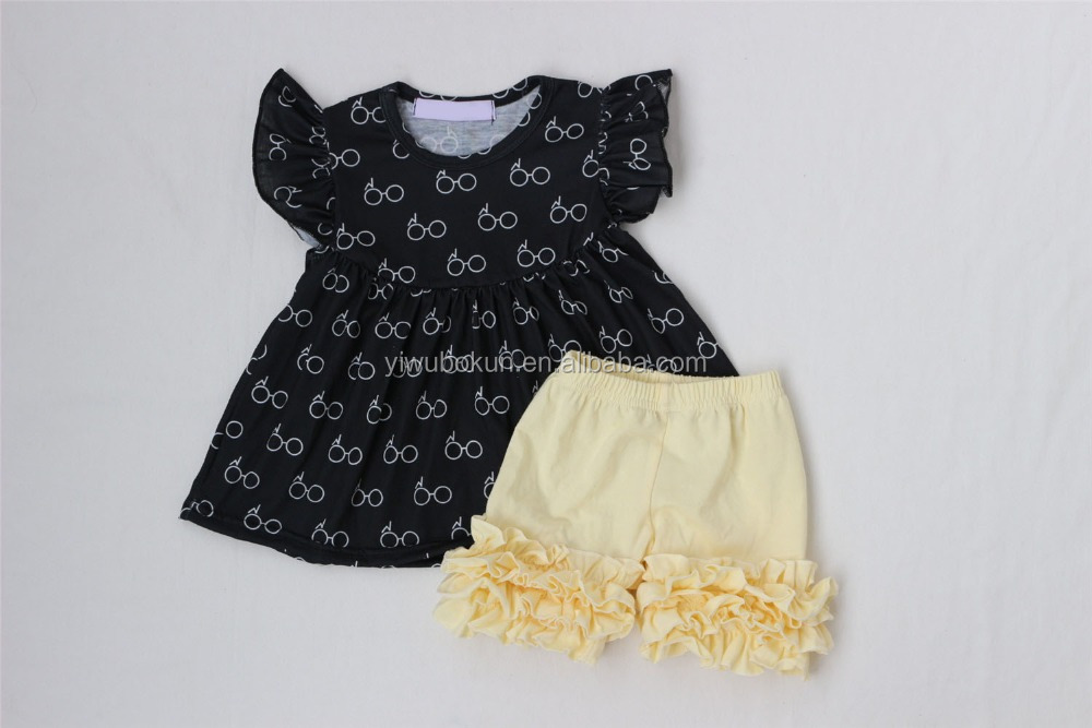 Back to school toddlers clothes set new glasses pattern kids baby young children's clothes