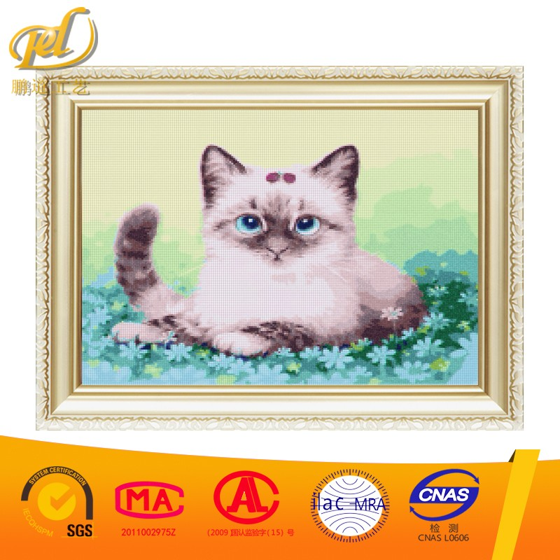 2017 New Picture Little Cute Cat Diy Crystal Diamond Embroidery Painting Unfinished Nail Arts for Home Decoration Wall a221